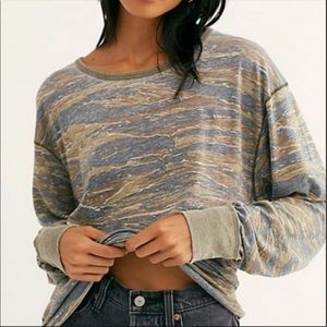 Free People Arielle Printed Knit T-Shirt Small